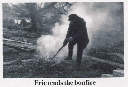 Eric tending an early bonfire - burning brambles