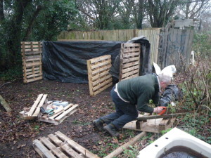 Gary constructing the new compost bins